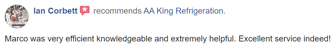 AA King - Positive Facebook Review